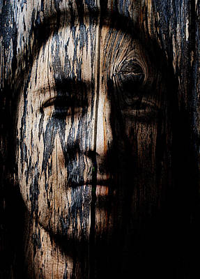 Wood Spirit Carving Native American Indian Painting - Native Heritage by Christopher Gaston
