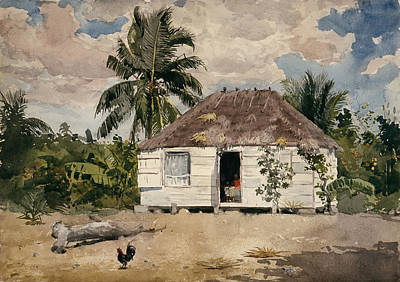 Wall Art - Painting - Native Huts Nassau by Winslow Homer