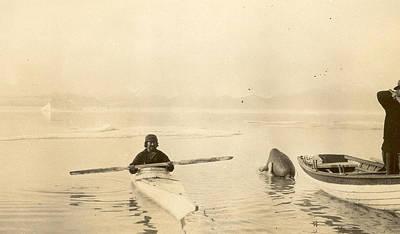 Aleut Photograph - Native Kayak by Unknown