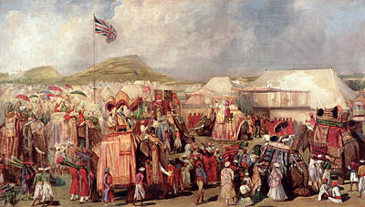 Native Princes Arriving In Camp For The Imperial Assemblage At Delhi, 1877 Art Print by George Landseer