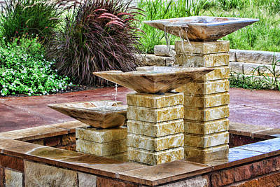 Native Texas Stone Fountain Art Print by Linda Phelps