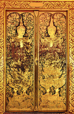 Buddhist Painting - Native Thai Style Of Pattern On Door Temple by Keerati Preechanugoon