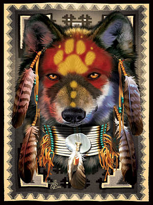 Wild Wolf Mixed Media - Native Wolf Warrior by  Orlando Baca