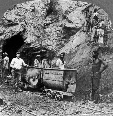 Native Workers In Diamond Mine Art Print by Underwood Archives