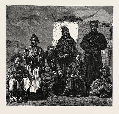 Vale Drawing - Natives Of The Valley Of Spiti by English School