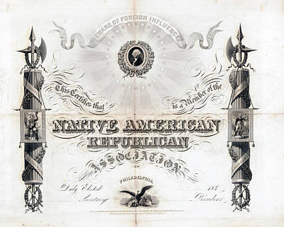Painting - Nativist Certificate, C1845 by Granger