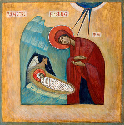 Greek Icon Painting - Nativity by Basia Mindewicz