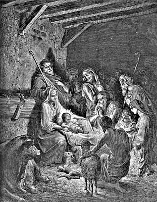 Jesus Christ Drawing - Nativity Bible Illustration Engraving by