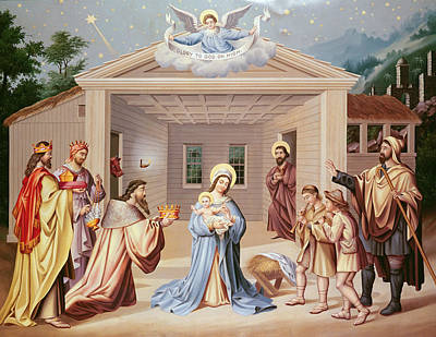 Melchior Painting - Nativity by American School