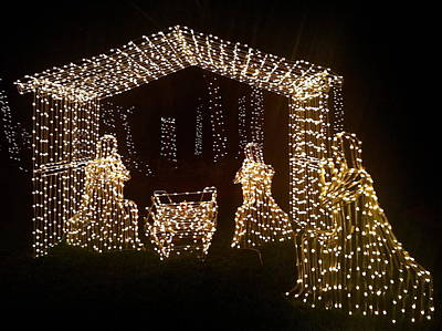 Photograph - Nativity In Lights by Denise Mazzocco