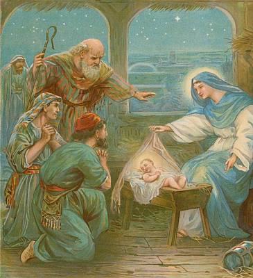 Nativity Painting - Nativity Scene by English School