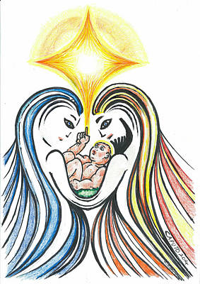 Drawing - Nativity Scene by Giovanni Caputo
