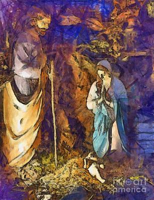 Manger Digital Art - Nativity Scene by Sophie McAulay