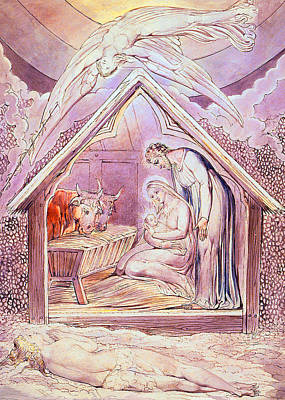 Nativity Scene Drawing - Nativity With Two Angels by Munir Alawi