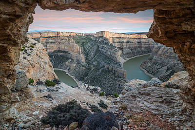 Natural Arch In Bighorn Canyon Art Print by Leland D Howard