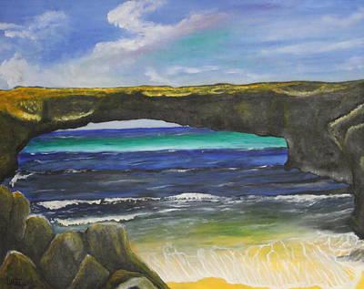 Aruba Painting - Natural Bridge Aruba by Donald W White