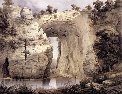 Rocky Drawing - Natural Bridge, Rockbridge County by Edward Beyer