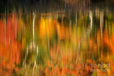 Photograph - Natural Brushstrokes - New England Autumn Reflections  by Expressive Landscapes Nature Photography