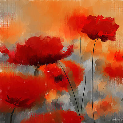 Orange Poppy Painting - Natural Enigma by Lourry Legarde
