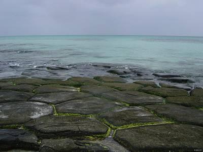 Natural Forming Pentagon Rock Formations Of Kumejima Okinawa Japan Print by Jeff at JSJ Photography