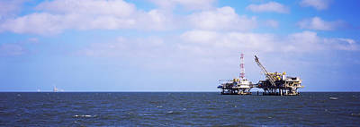 Oil Rig Photograph - Natural Gas Drilling Platform In Mobile by Panoramic Images