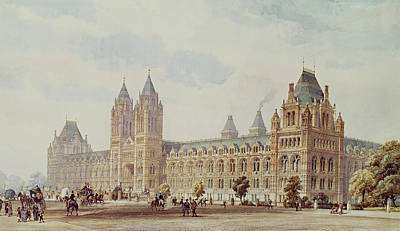 Tower Drawing - Natural History Museum  by Alfred Waterhouse