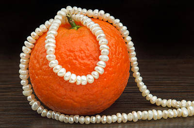 Wood Necklace Photograph - Natural Pearls Necklace And Mandarin by Alain De Maximy
