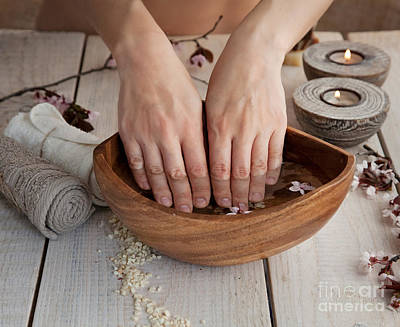 Natural Spa Manicure  Setting Print by Mythja  Photography