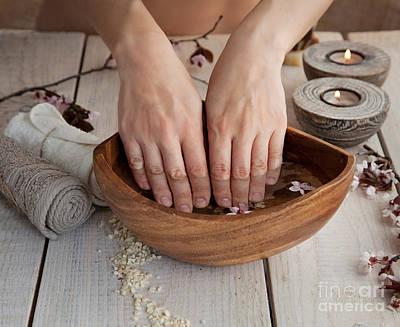 Mythja Photograph - Natural Spa Manicure  Setting by Mythja  Photography
