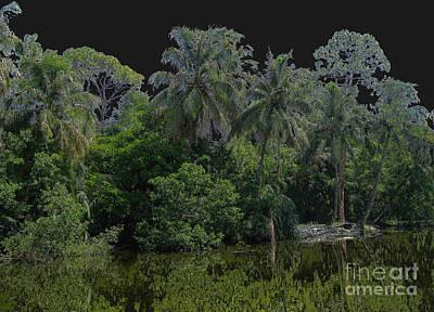 Digital Art - Green Black Palm Tree by Oksana Semenchenko