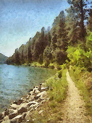 Painting - nature - art- Mountain Lakeshore Summer  by Ann Powell