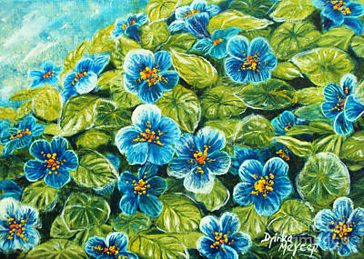 Nature Blue Flowers Original Painting Oil On Canvas Art Print by Drinka Mercep