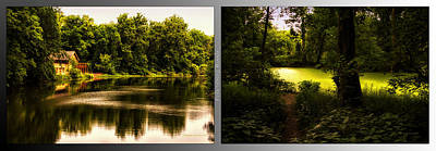 Nature Center Pond Digital Art - Nature Center 01 End Of Path Fullersburg Woods 2 Panel by Thomas Woolworth
