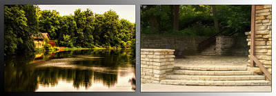 Nature Center Pond Digital Art - Nature Center 01 Flagstone Patio Fullersburg Woods 2 Panel by Thomas Woolworth