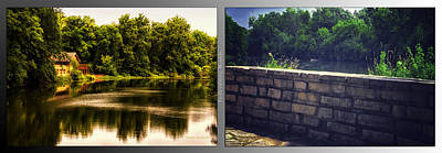 Nature Center 01 Flagstone Wall Fullersburg Woods 2 Panel Art Print by Thomas Woolworth