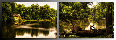 Nature Center 01 Natural Seating Fullersburg Woods 2 Panel Art Print by Thomas Woolworth