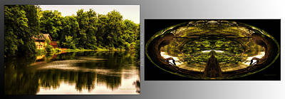 Nature Center Pond Digital Art - Nature Center 01 Wood Polar View Fullersburg Woods 2 Panel by Thomas Woolworth