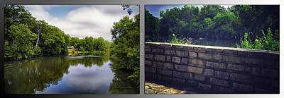 Nature Center 02 Flagstone Wall Fullersburg Woods 2 Panel Art Print by Thomas Woolworth