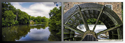 Nature Center 02 Grist Mill Wheel Fullersburg Woods 2 Panel Art Print by Thomas Woolworth