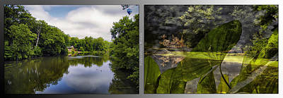 Nature Center 02 Water Plant Bird Merge Fullersburg Woods 2 Panel Art Print by Thomas Woolworth