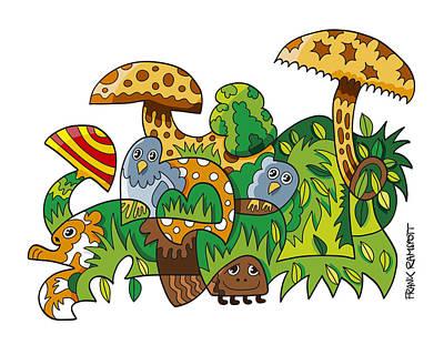 Nature Doodle Mushroom Grass Art Print
