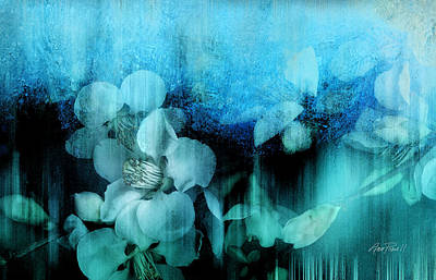 Painting - nature- flowers - Blossoms in Blue  by Ann Powell