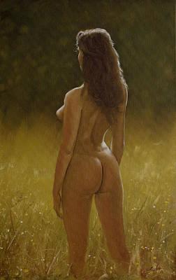 Female Masturbation Painting - Nature Girl IIi by John Silver