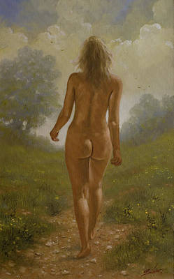 Female Masturbation Painting - Nature Girl Iv by John Silver