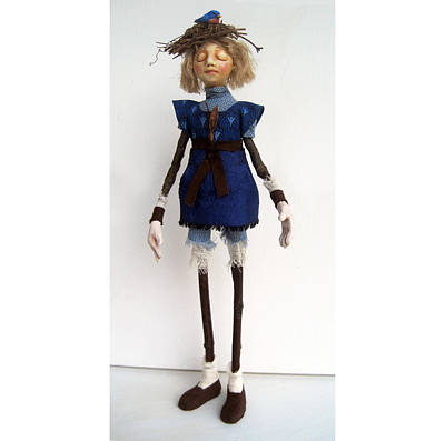 Mixed Media - Nature Guardian Earth And Sky Mixed Media Art Doll Sculpture  by Linda Apple