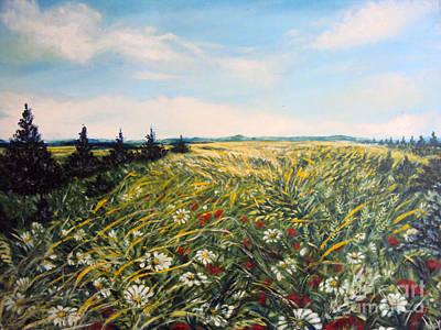 Nature Landscape Field Poppies Daises Grass Pines Original Art  Art Print by Drinka Mercep