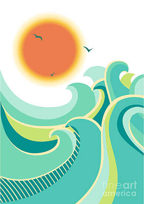 Sunshine Wall Art - Digital Art - Nature Seascape Poster Background With by Tancha