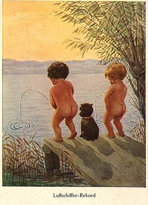 Boy Peeing Painting - Nature's Call by Unknown