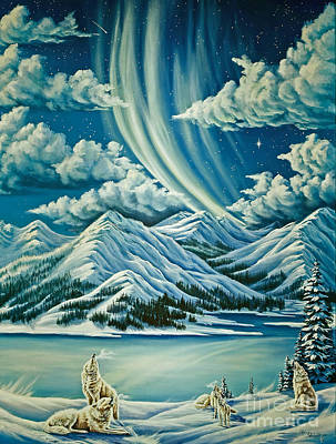 Wolf Pack Painting - Natures Choir by Lori Salisbury