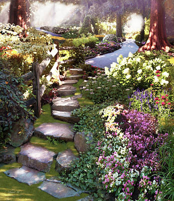 Garden Flowers Drawing - Natures Chosen Path by David M ( Maclean )